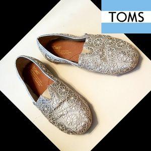 TOMS METALLIC SILVER FLOWER CROCHET SLIP ONS